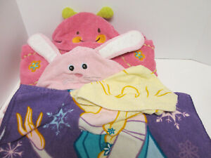 Girls Hooded Beach Bath Towels Disney Frozen Elsa LL Bean Bunny Pink Butterfly