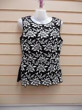 LADIES TOP BLACK SIZE 10 PEPLUM EMBROIDERED WHITE ABSTRACT LACE DETAIL BNWT