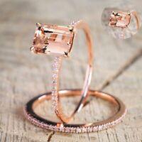 2PCs/Set mode party verlobung charme crystal band ring hochzeit schmuck