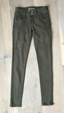 """Tally Weijl """"Lucky"""" Skinny Stretch Distressed Jeans 34 2 Olive Green Jeggings"""