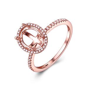 Fine Jewelry Semi Mount Oval 9x7mm 0.2CT Real Diamond Ring Setting 10k Rose Gold