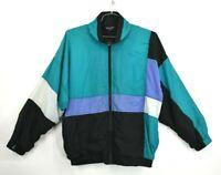 VTG Christian Dior Mens Zip Front Colorblock Windbreaker Jacket Elastic Hem L