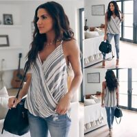 Women Clothes Vest Top Sleeveless Casual Loose Striped Tank Tops V-Neck Camis