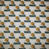 """NFL GREEN BAY PACKERS Cotton Fabric by the 1/2 YARD 18"""" x 58"""" for face mask"""