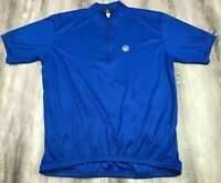 CANARI San Diego CA 1/4 Zip Blue Short Sleeve Cycling Bike Racing Jersey USA XL