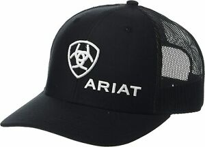 Ariat Mens Richardson 112 Adjustable Snapback Trucker Hat (Black)