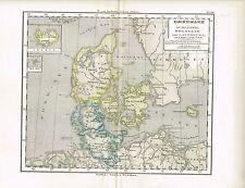 Karte von DÄNEMARK / ISLAND, Original-Graphik 1876
