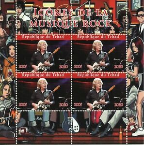 Chad Music Stamps 2020 CTO Rick Parfitt Status Quo Rock Icons People 4v M/S