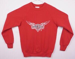 Vintage 80s Harley-Davidson Men's Medium Winged Logo Red Sweatshirt