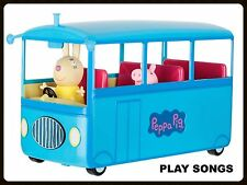 Peppa Pig School Bus Playset Kids Children Toy Car Two Figures Plays Song Sounds