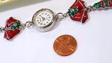 Christmas tree Bangle Bracelet Girls Woman Silvertone Multicolor charms links #3