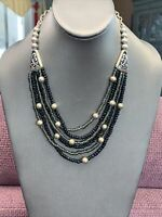 "Vintage Silver Tone Bohemian Beaded 6 Strand Waterfall Necklace 18"" Black Grey"