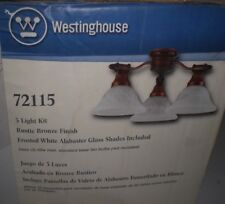 Westinghouse Indoor/Outdoor Rustic Bronze Glass Ceiling Fan 3 Light Kit 72115