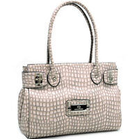 New Women Handbag Chic Croco Faux Leather Satchel Tote Shoulder Bag Purse Cream