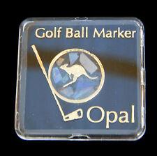 Golf Ball Marker Opal Chip Australian Souvenir Map Gold Plated Boxed Kangaroo