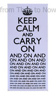 Retro Keep Calm And Carry On And On... Blue White Hanging Metal Wall Sign Plaque