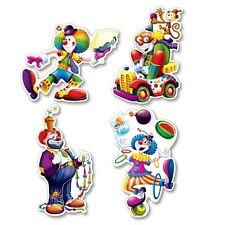 """4 Circus 14"""" SILLY CLOWN CUTOUTS Big Top Tent Carnival Party Decoration"""