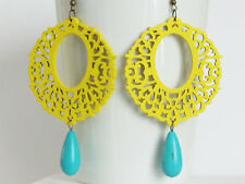 Yellow Earrings Neon Earrings Women Jewelry Gift Turquoise Earrings Chandelier E
