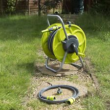SET 50M HOSE & REEL GARDEN WATERING PIPE STANDING WINDER TUBE TROLEY CART