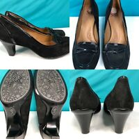 Womens SOFFT Black Suede-Leather Pumps Heels Loafers Shoes SIZE 8.5 M