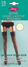 Super Shine Lace Top Stockings Silky 15 Denier Burlesque One Size 7 Colours Cream