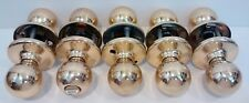 Vintage Set lot of 5 Entry Polish Brass Ball Doorknobs Plated Nice looking