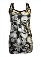 NEW GOTH BLACK & WHITE SKULLS FLOWERS BANNER SHADED TATTOO PRINT LONG TANK TOP