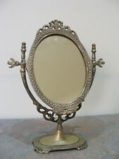 "Antique Style Ornate Silver Tone Metal ""Abacus"" Display Mirror"