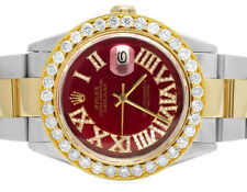 Rolex Datejust 36MM Two Tone 18K/ Steel Oyster Red Dial Diamond Watch 5.75 Ct