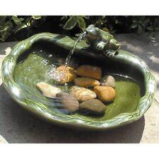 Solar Water Fountain Green Bull Frog Bird Bath Garden Landscape Yard Pond Cerami