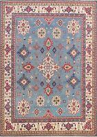 Geometric Light Blue Super Kazak Oriental Area Rug Vegetable Dye Handmade 8'x10'