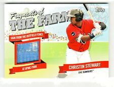 2018 Topps Pro Debut FRAGMENTS OF THE FARM OUTFIELD FENCE SIGN CHRISTIN STEWART