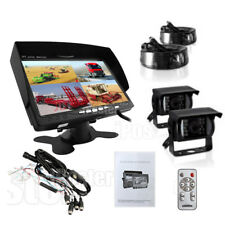 "7"" REAR VIEW MONITOR+2x REVERSING CCD CAMERA 4PIN KIT SYSTEM FOR TRACTOR, TRUCK"