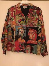 Kaktus Jacket Pablo PICASSO Print Multi Color Art To Wear Women's Size Small