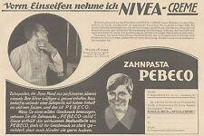Y4868 Zahnpasta PEBECO - NIVEA Creme - Pubblicità d'epoca - 1927 Old advertising