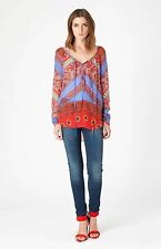 Hale Bob Sheer Silk High Low Blouse | Beautiful Red & Blue  XS NWT 3COS2311 *