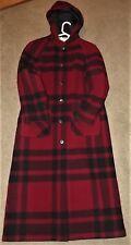 Woolrich Coat Red Black Buffalo Plaid Jacket 85% Wool -Women's M HOODED