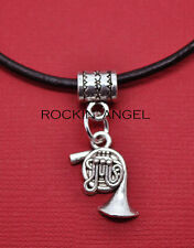 Antique Silver Plt French Horn Pendant Necklace Ladies Mens Girls Gift Music