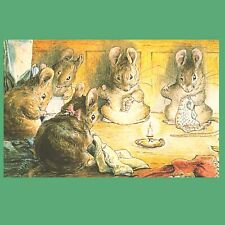 Postcard - The Tailor of Gloucester - Mice Sewing - Beatrix Potter Illustration