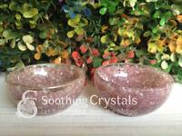 Orgone Lepidolite Gemstone Handcarved Bowl Prayer Bowl ~ BWL254