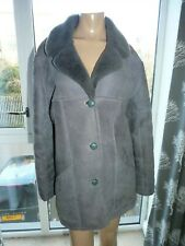 Lakeland Grey 100% sheepskin shearling coat jacket UK 12
