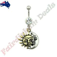 Surgical Steel Clear Gem Belly Ring with Golden Sun Silver Moon Union Dangle
