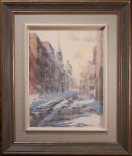 Robert David Simpson Original Oil Painting, Stunning Snowy Cityscape! SUPERB!