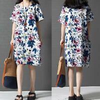 Mode Femme Imprimé floral Manche Courte Loose Col Rond Mini Robe Dresse Plus