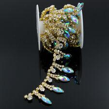1 yd Gold/Blue Crystal Rhinestone Applique Chain Sewing Trim Craft Wedding Decor