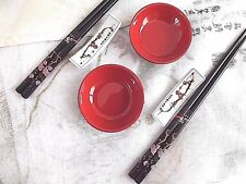 2 SET JAPANESE BLACK BLOSSOM CHOPSTICKS STAND RED SAUCE PLATE CHINESE PARTY B7