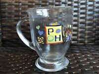 Disney Winnie the Pooh Big Hearts Deserve Hugs Clear Glass Pedestal Mug