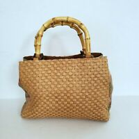 Fossil Woven Straw Handbag Purse Canvas And Leather Trim Bamboo Handles 78083