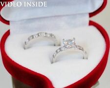 Excellent Engagement Solitaire with Accents Princess Fine Diamond Rings
