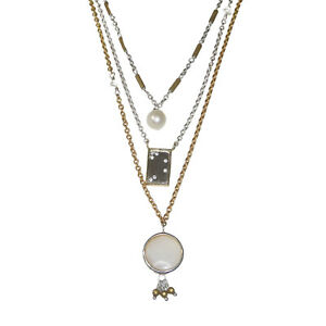 Silpada N3186 Sterling Silver Brass Pearl Convertible Charisma Necklace Tiered